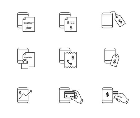 Online money transaction and contract icons for mobile and smart phone 向量圖像