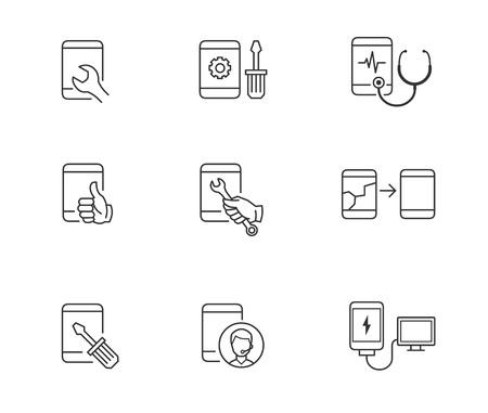 Mobile phone repair icons 向量圖像