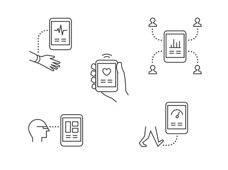 Wearable technology icons with mobile phone tracking health and sharing info