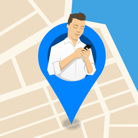 Young man looking at his current location on mobile phone