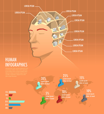 Human health, knowledge infographic with icons inside the head