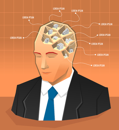 Human mind or brain infographic illustration with icons inside the head 向量圖像