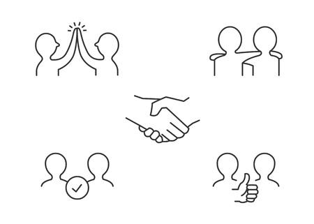 Friendship line icons 向量圖像