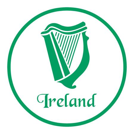 Ireland emblem with celtic harp