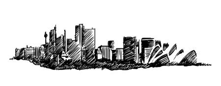 Sydney skyline vector hand drawing 矢量图像