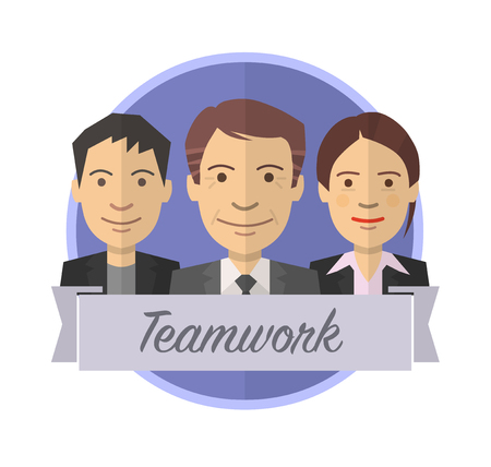 Teamwork icon badge. Team leader and two members. Flat vector style. 向量圖像