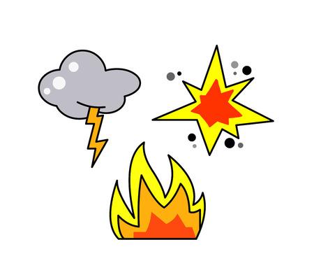 雷、火災、爆発のアイコン