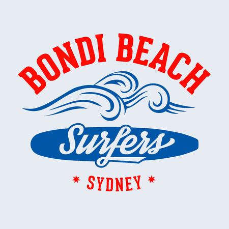 Bondi Beach Surfers Sydney t-shirt design 向量圖像