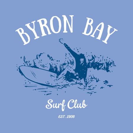 Byron Bay Surf Club t-shirt design 向量圖像