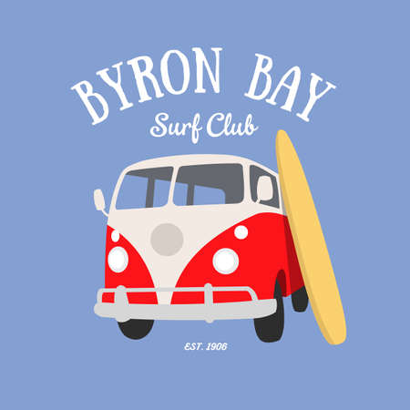 byron: Byron Bay Surf Club t-shirt design Illustration