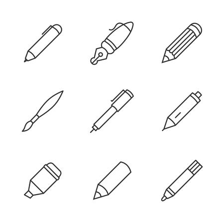 Writing tools. Pencil, pen, fountain pen, brush, marker, crayon, ballpoint thin line vector icons. 向量圖像
