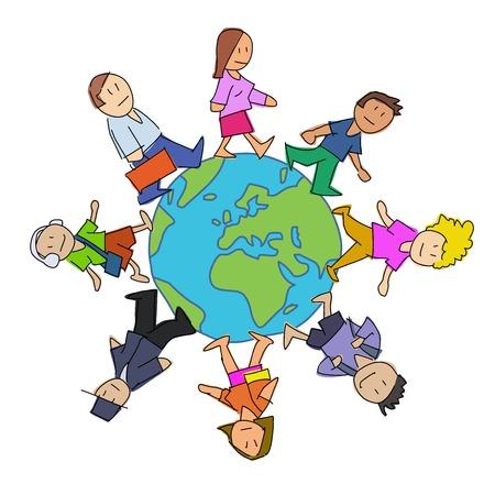 Vielfalt-Cartoon. Multikulturelle Menschen gehen um die Welt. Vektorgrafik