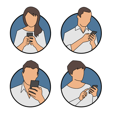 Vector people using, looking at smart phone