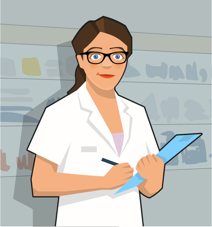 Female pharmacy assistant holding clipboard in hand. Vector illustration.