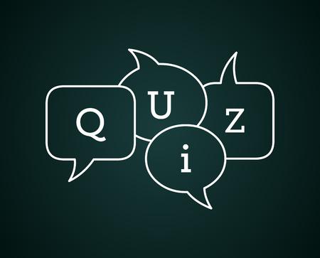 Quiz text in speech bubbles on chalkboard