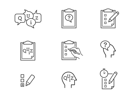 Quiz line icons 向量圖像