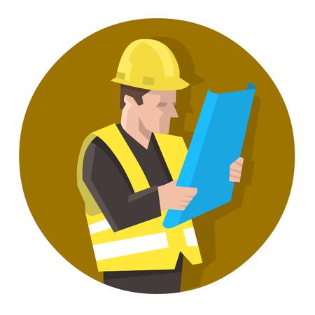 Engineer in safety vest reading blueprint plan