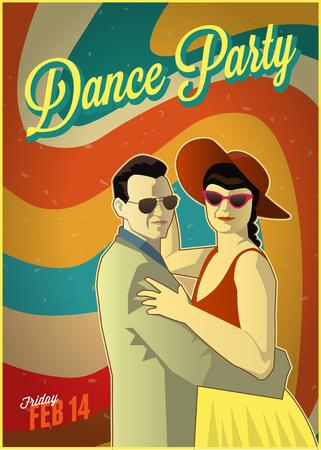 Retro dance party poster. Vector illustration.