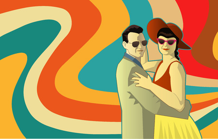Vector illustration of two people dancing in retro outfit and retro colors background waves