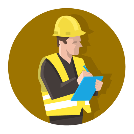 Man in safety vest checking a project list or doing safety check