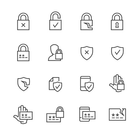 Data security and password icons 向量圖像
