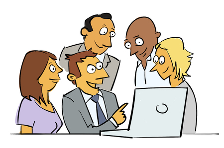 Business colleagues working on a laptop. Cartoon style vector.