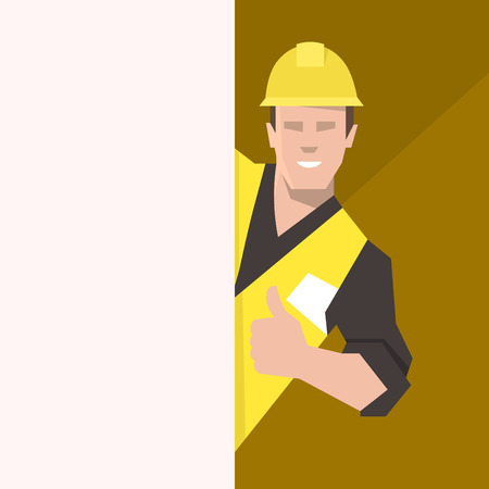 Construction worker behind the blank banner, giving thumbs up. Flat vector illustration.