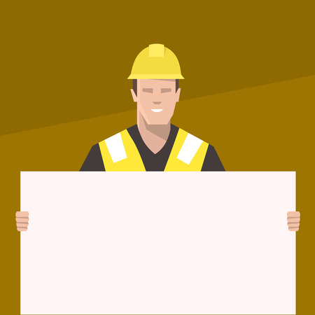 Construction worker holding a blank sign. Flat vector illustration.