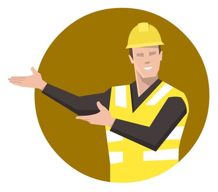 Construction worker presenting. Flat vector illustration.