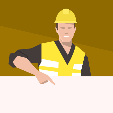 Construction worker pointing on the blank banner. Flat vector illustration.