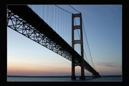mackinac: Mackinac Bridge at Sunset Stock Photo