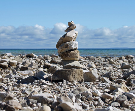 Rock Cairn on the shoreline of Mackinac Island