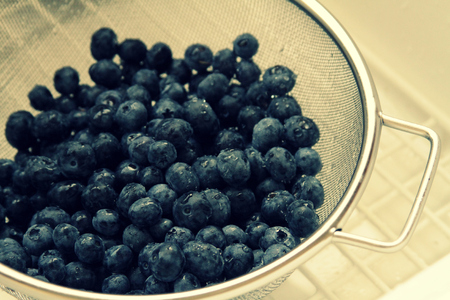 Blueberries in a strainer