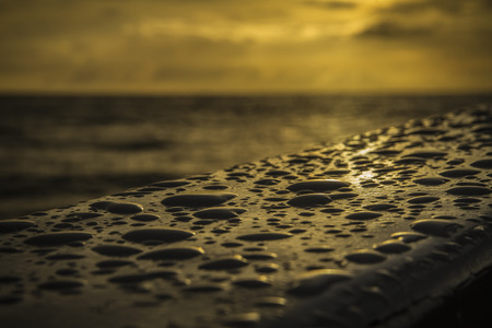 Close-up rainwater droplets on the sail ship on the beautiful sunsets Stock Photo