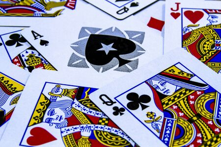 Macro shot stack of playing cards