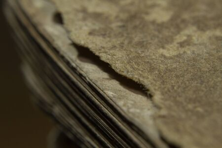 Macro shot old vintage book papers edge shape and texture Stockfoto