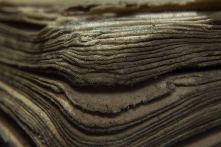 Macro shot old vintage book papers edge shape and texture Standard-Bild - 129486912