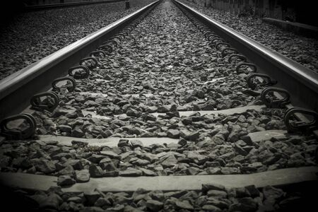 Close-up train rail track in a black and white picture Banque d'images - 133062438