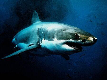 Le grand requin blanc est un prédateur au sommet et d'incroyables créatures sous-marines dans l'image à l'aquarelle
