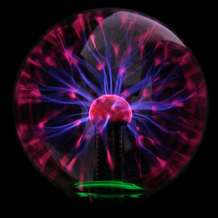 Purple plasma flames drawing from center to margin of sphere photo