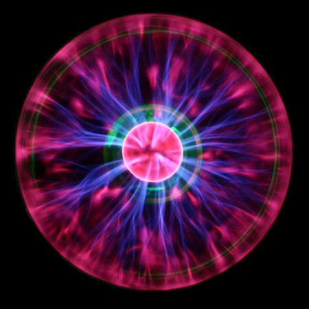 Purple plasma flames drawing from center to margin of sphere Stock Photo