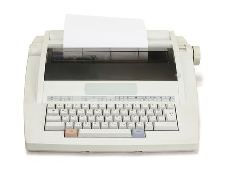 white electronic typewriter with paper sheet on a white background. The front view.