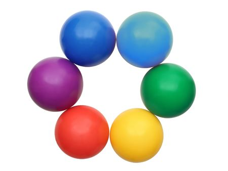 six color balls - red, green, blue, cyan, magenta and yellow on a white background photo