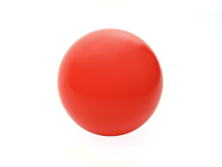 Plastic red ball on a white background. Looks like Japan flag. Stock Photo