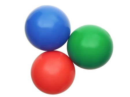 Three color balls - red, green and blue are isolated on a white background photo