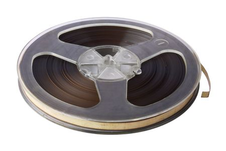 Plastic bobbin with magnetic tape isolated over white Stock Photo