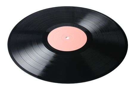vinyl record with pale pink label isolated on white background Standard-Bild