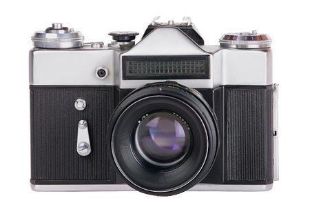 camara: C�mara de fotos de 35 mm mec�nicos de negro plateado aislado sobre fondo blanco
