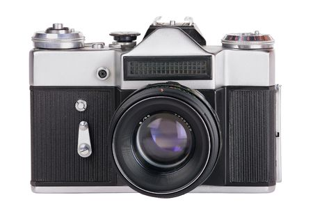 silvery-black mechanical 35mm photo camera isolated on white background