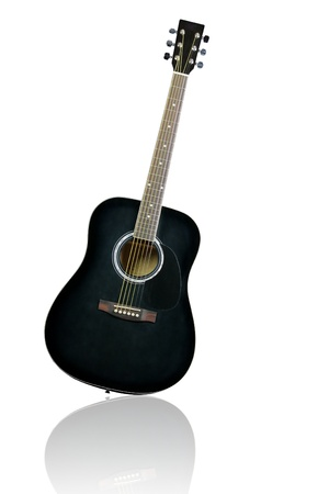 black acoustic guitar isolated on white background